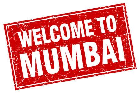 mumbai: Mumbai red square grunge welcome to stamp