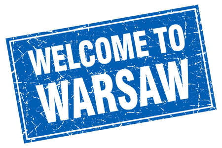 warsaw: Warsaw blue square grunge welcome to stamp