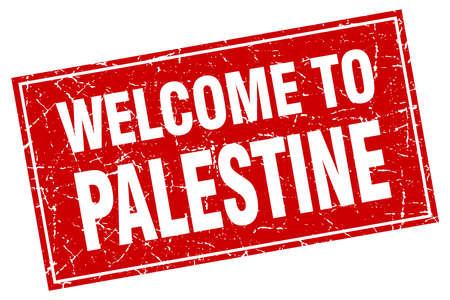 palestine: Palestine red square grunge welcome to stamp Illustration