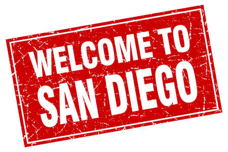 san diego: San Diego red square grunge welcome to stamp