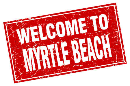 myrtle beach: Myrtle Beach red square grunge welcome to stamp