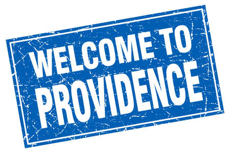 providence: Providence blue square grunge welcome to stamp Illustration