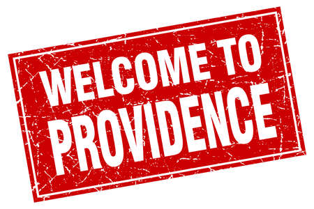 providence: Providence red square grunge welcome to stamp