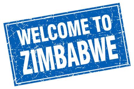 zimbabwe: Zimbabwe blue square grunge welcome to stamp