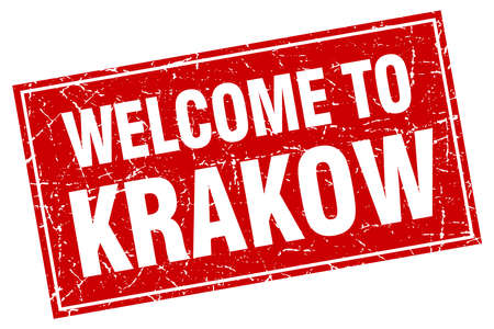 krakow: Krakow red square grunge welcome to stamp Illustration