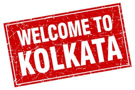 kolkata: Kolkata red square grunge welcome to stamp