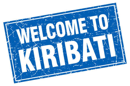 kiribati: Kiribati blue square grunge welcome to stamp Illustration