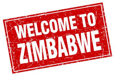 zimbabwe: Zimbabwe red square grunge welcome to stamp