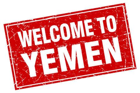 yemen: Yemen red square grunge welcome to stamp