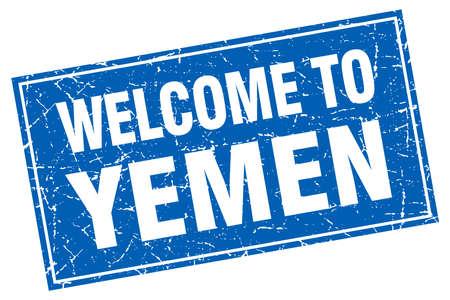 yemen: Yemen blue square grunge welcome to stamp