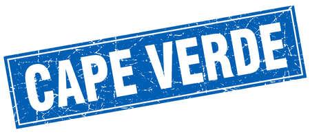 verde: Cape Verde blue square grunge vintage isolated stamp