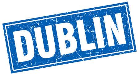 dublin: Dublin blue square grunge vintage isolated stamp Illustration