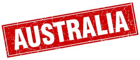 australia stamp: Australia red square grunge vintage isolated stamp