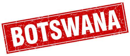 botswana: Botswana red square grunge vintage isolated stamp