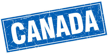 canada stamp: Canada blue square grunge vintage isolated stamp