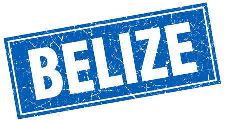 Belize blue square grunge vintage isolated stamp