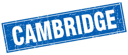 cambridge: Cambridge blue square grunge vintage isolated stamp
