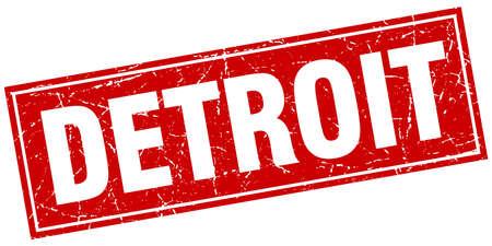 detroit: Detroit red square grunge vintage isolated stamp Illustration