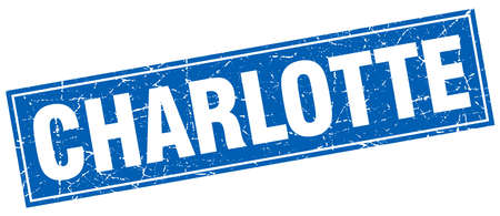 charlotte: Charlotte blue square grunge vintage isolated stamp Illustration