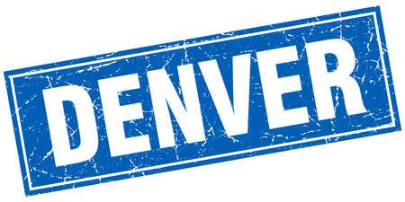 denver: Denver blue square grunge vintage isolated stamp