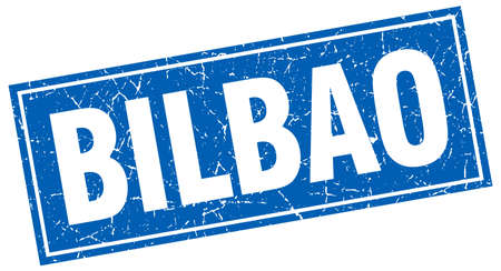 bilbao: Bilbao blue square grunge vintage isolated stamp