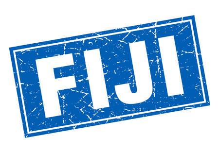 fiji: Fiji blue square grunge vintage isolated stamp