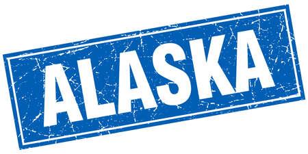 alaska: Alaska blue square grunge vintage isolated stamp Illustration