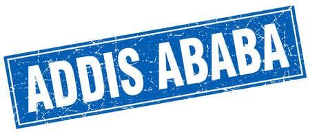 addis: Addis Ababa blue square grunge vintage isolated stamp Illustration