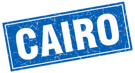 cairo: Cairo blue square grunge vintage isolated stamp