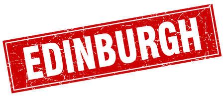 edinburgh: Edinburgh red square grunge vintage isolated stamp