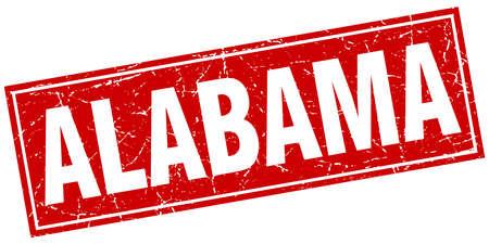 alabama: Alabama red square grunge vintage isolated stamp
