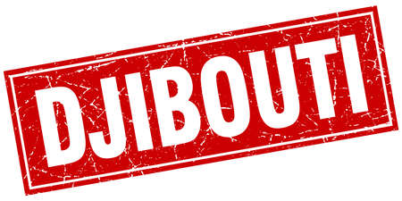 djibouti: Djibouti red square grunge vintage isolated stamp