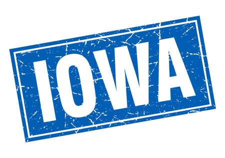 iowa: Iowa blue square grunge vintage isolated stamp Illustration