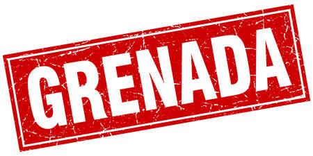grenada: Grenada red square grunge vintage isolated stamp