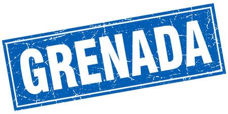 grenada: Grenada blue square grunge vintage isolated stamp