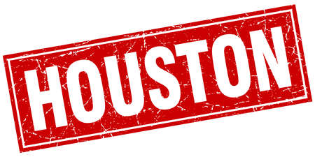 houston: Houston red square grunge vintage isolated stamp