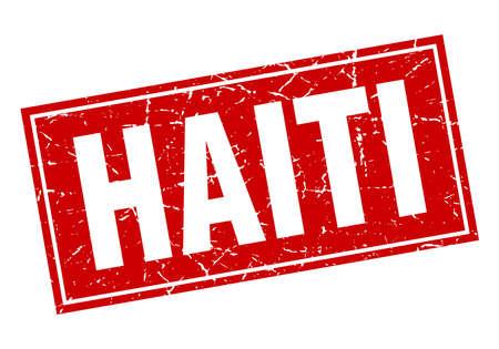 haiti: Haiti red square grunge vintage isolated stamp