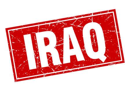 iraq: Iraq red square grunge vintage isolated stamp