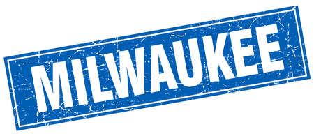 milwaukee: Milwaukee blue square grunge vintage isolated stamp