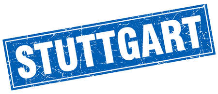 stuttgart: Stuttgart blue square grunge vintage isolated stamp Illustration