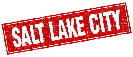 salt lake city: Salt Lake City red square grunge vintage isolated stamp Illustration