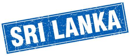 sri: Sri Lanka blue square grunge vintage isolated stamp