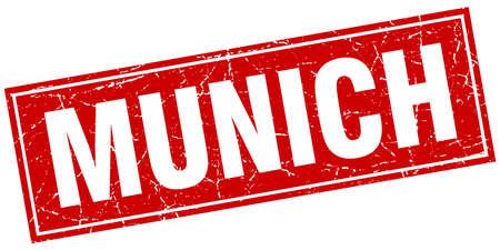 munich: Munich red square grunge vintage isolated stamp