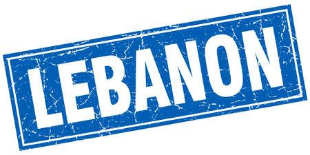 lebanon: Lebanon blue square grunge vintage isolated stamp