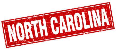north carolina: North Carolina red square grunge vintage isolated stamp