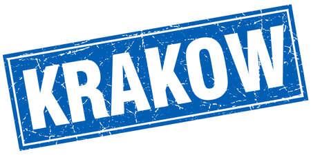 krakow: Krakow blue square grunge vintage isolated stamp Illustration