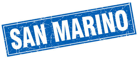 san marino: San Marino blue square grunge vintage isolated stamp