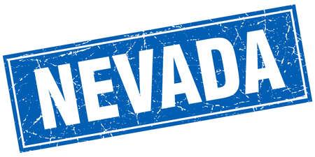 nevada: Nevada blue square grunge vintage isolated stamp Illustration