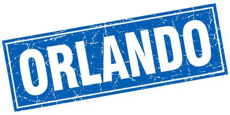 orlando: Orlando blue square grunge vintage isolated stamp