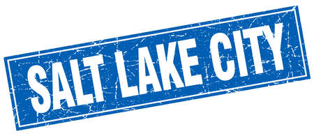 salt lake city: Salt Lake City blue square grunge vintage isolated stamp